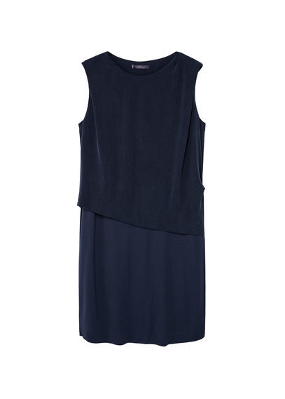 Cupro Front Dress - style: shift; neckline: round neck; pattern: plain; sleeve style: sleeveless; predominant colour: navy; occasions: evening; length: just above the knee; fit: straight cut; fibres: viscose/rayon - 100%; sleeve length: sleeveless; pattern type: fabric; texture group: woven light midweight; season: s/s 2016
