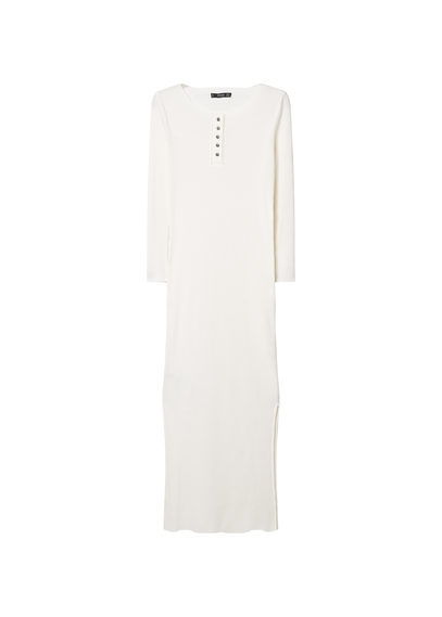 Tailored Ribbed Dress - neckline: round neck; pattern: plain; style: maxi dress; length: ankle length; predominant colour: white; occasions: casual; fit: body skimming; fibres: cotton - stretch; sleeve length: long sleeve; sleeve style: standard; texture group: jersey - clingy; pattern type: fabric; season: s/s 2016; wardrobe: basic; embellishment location: bust