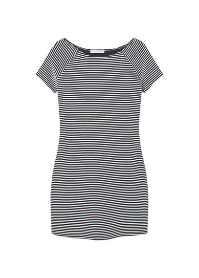 Stripe Textured Dress - style: t-shirt; length: mini; neckline: round neck; pattern: horizontal stripes; secondary colour: white; predominant colour: navy; occasions: casual; fit: body skimming; fibres: cotton - stretch; sleeve length: short sleeve; sleeve style: standard; texture group: jersey - clingy; pattern type: fabric; pattern size: standard; season: s/s 2016; wardrobe: basic