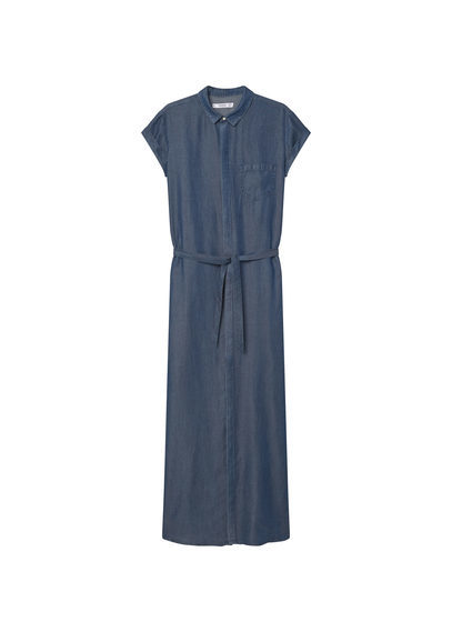 Soft Denim Dress - style: shift; length: calf length; neckline: shirt collar/peter pan/zip with opening; pattern: plain; waist detail: belted waist/tie at waist/drawstring; predominant colour: denim; occasions: casual, creative work; fit: body skimming; fibres: polyester/polyamide - 100%; sleeve length: short sleeve; sleeve style: standard; texture group: denim; pattern type: fabric; season: s/s 2016