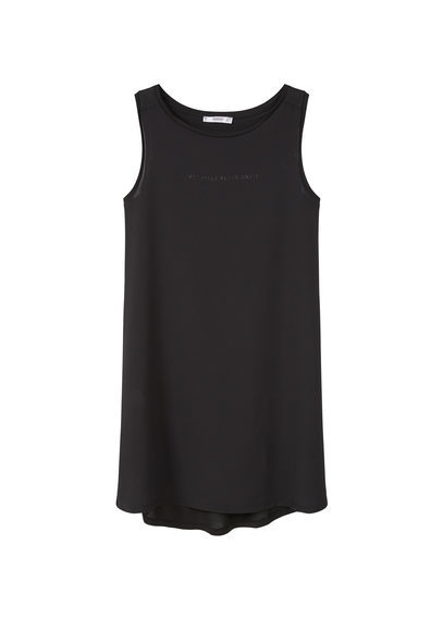 Message Dress - length: mid thigh; neckline: round neck; sleeve style: standard vest straps/shoulder straps; fit: loose; pattern: plain; style: vest; predominant colour: black; occasions: casual; fibres: cotton - stretch; sleeve length: sleeveless; pattern type: fabric; texture group: jersey - stretchy/drapey; season: s/s 2016; wardrobe: basic