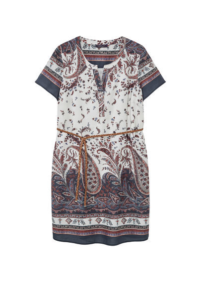 Printed Cotton Dress - style: tunic; length: mid thigh; neckline: v-neck; pattern: paisley; waist detail: belted waist/tie at waist/drawstring; secondary colour: white; predominant colour: navy; occasions: casual, holiday; fit: straight cut; fibres: cotton - 100%; sleeve length: short sleeve; sleeve style: standard; texture group: cotton feel fabrics; pattern type: fabric; pattern size: big & busy; multicoloured: multicoloured; season: s/s 2016