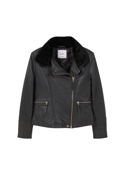 Leather Aviator Jacket - pattern: plain; style: biker; collar: asymmetric biker; fit: slim fit; predominant colour: black; occasions: casual; length: standard; fibres: leather - 100%; sleeve length: long sleeve; sleeve style: standard; texture group: leather; collar break: high/illusion of break when open; pattern type: fabric; embellishment: fur; season: s/s 2016; wardrobe: basic; embellishment location: neck