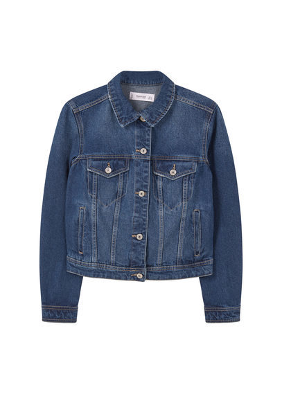 Dark Denim Jacket - pattern: plain; style: denim; predominant colour: denim; occasions: casual; length: standard; fit: straight cut (boxy); fibres: cotton - stretch; collar: shirt collar/peter pan/zip with opening; sleeve length: long sleeve; sleeve style: standard; texture group: denim; collar break: high/illusion of break when open; pattern type: fabric; season: s/s 2016; wardrobe: basic