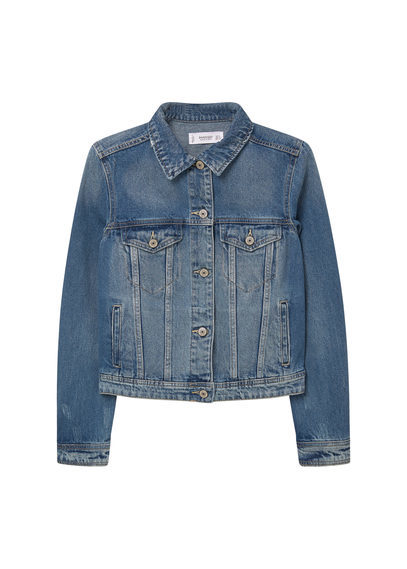 Medium Denim Jacket - pattern: plain; style: denim; predominant colour: denim; occasions: casual; length: standard; fit: straight cut (boxy); fibres: cotton - stretch; collar: shirt collar/peter pan/zip with opening; sleeve length: long sleeve; sleeve style: standard; texture group: denim; collar break: high; pattern type: fabric; season: s/s 2016