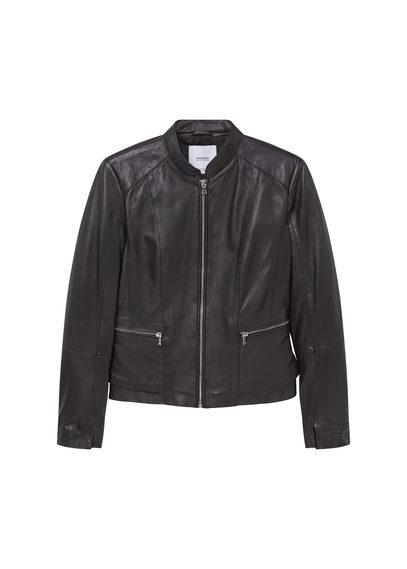 Zip Leather Jacket - pattern: plain; collar: round collar/collarless; style: bomber; predominant colour: black; occasions: casual; length: standard; fit: straight cut (boxy); fibres: leather - 100%; sleeve length: long sleeve; sleeve style: standard; texture group: leather; collar break: high; pattern type: fabric; season: s/s 2016; wardrobe: basic