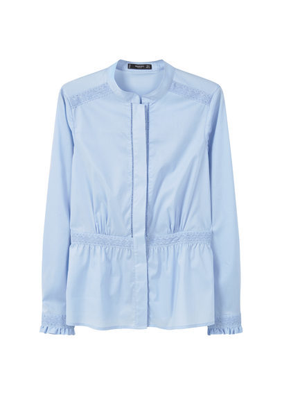 Trim Cotton Shirt - pattern: plain; style: blouse; predominant colour: pale blue; occasions: casual; length: standard; neckline: collarstand; fibres: cotton - 100%; fit: body skimming; sleeve length: long sleeve; sleeve style: standard; texture group: cotton feel fabrics; pattern type: fabric; season: s/s 2016; wardrobe: highlight