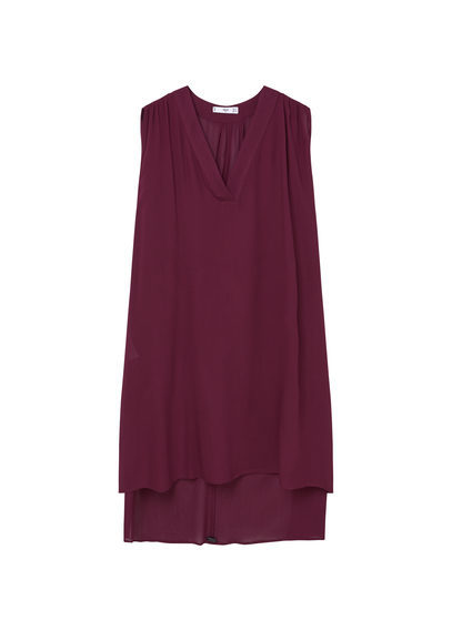 V Neckline Blouse - neckline: v-neck; pattern: plain; sleeve style: sleeveless; length: below the bottom; style: blouse; predominant colour: burgundy; occasions: casual; fibres: polyester/polyamide - 100%; fit: loose; sleeve length: sleeveless; pattern type: fabric; texture group: other - light to midweight; season: s/s 2016; wardrobe: highlight