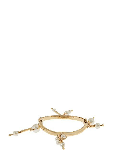 Kay Bangle - predominant colour: gold; occasions: evening, occasion; style: charm; size: standard; material: chain/metal; finish: metallic; embellishment: pearls; season: s/s 2016; wardrobe: event