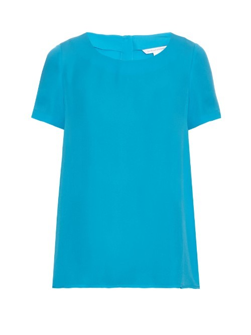 Maggy Top - neckline: round neck; pattern: plain; style: t-shirt; predominant colour: diva blue; occasions: casual, creative work; length: standard; fibres: silk - 100%; fit: straight cut; sleeve length: short sleeve; sleeve style: standard; texture group: silky - light; pattern type: fabric; season: s/s 2016; wardrobe: highlight