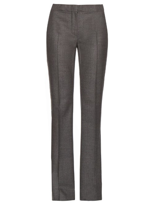 Milena Trousers - length: standard; pattern: plain; waist: mid/regular rise; predominant colour: charcoal; fibres: wool - 100%; fit: straight leg; pattern type: fabric; texture group: other - light to midweight; style: standard; occasions: creative work; season: s/s 2016; wardrobe: basic