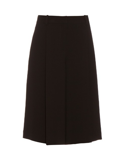 Asheton Culottes - pattern: plain; waist: high rise; predominant colour: black; occasions: casual, creative work; fibres: polyester/polyamide - 100%; texture group: crepes; pattern type: fabric; season: s/s 2016; wardrobe: basic; style: culotte; length: below the knee; fit: baggy
