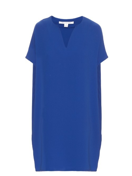 Kora Dress - style: shift; neckline: v-neck; pattern: plain; predominant colour: royal blue; occasions: casual; length: just above the knee; fit: body skimming; fibres: polyester/polyamide - mix; sleeve length: short sleeve; sleeve style: standard; pattern type: fabric; texture group: other - light to midweight; season: s/s 2016