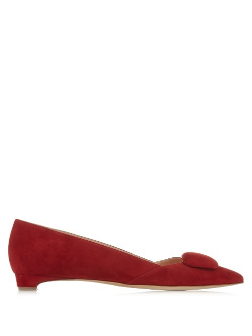 Aga Point Toe Suede Flats - occasions: casual, creative work; material: suede; heel height: flat; toe: pointed toe; style: ballerinas / pumps; finish: plain; pattern: plain; predominant colour: raspberry; season: s/s 2016; wardrobe: highlight