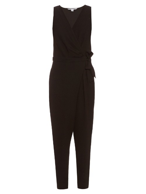 Cordia Jumpsuit - length: standard; neckline: v-neck; pattern: plain; sleeve style: sleeveless; waist detail: belted waist/tie at waist/drawstring; predominant colour: black; occasions: evening; fit: body skimming; fibres: polyester/polyamide - stretch; sleeve length: sleeveless; style: jumpsuit; pattern type: fabric; texture group: jersey - stretchy/drapey; season: s/s 2016; wardrobe: event