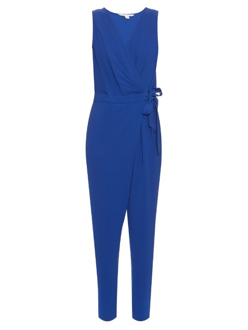 Cordia Jumpsuit - length: standard; neckline: v-neck; pattern: plain; sleeve style: sleeveless; waist detail: belted waist/tie at waist/drawstring; predominant colour: royal blue; occasions: evening; fit: body skimming; fibres: polyester/polyamide - mix; sleeve length: sleeveless; style: jumpsuit; pattern type: fabric; texture group: jersey - stretchy/drapey; season: s/s 2016; wardrobe: event