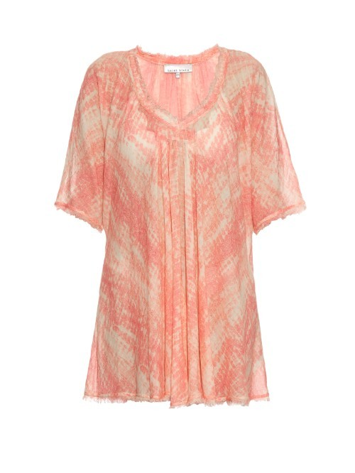 Buzios V Neck Cotton Kaftan - neckline: low v-neck; length: below the bottom; style: kaftan; predominant colour: pink; fibres: cotton - 100%; fit: loose; hip detail: subtle/flattering hip detail; sleeve length: half sleeve; sleeve style: standard; texture group: sheer fabrics/chiffon/organza etc.; occasions: holiday; pattern type: fabric; pattern size: light/subtle; pattern: patterned/print; season: s/s 2016; wardrobe: holiday
