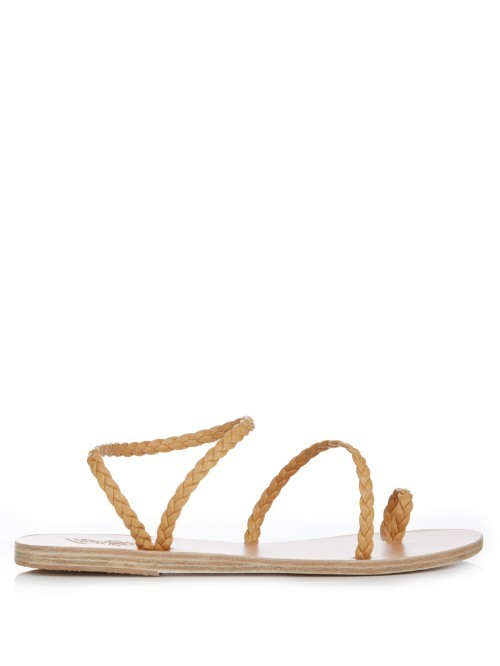 Eleftheria Leather Sandals - predominant colour: camel; occasions: casual, holiday; material: leather; heel height: flat; heel: standard; toe: open toe/peeptoe; style: strappy; finish: plain; pattern: plain; season: s/s 2016; wardrobe: basic