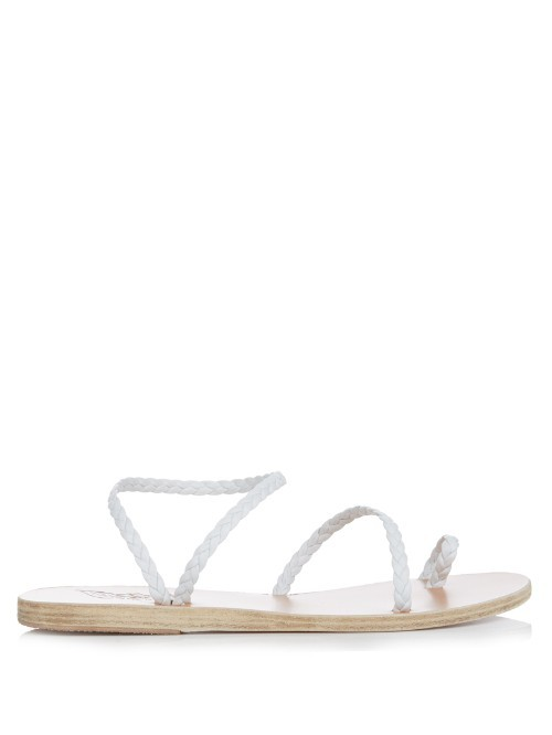 Eleftheria Leather Sandals - predominant colour: white; occasions: casual, holiday; material: leather; heel height: flat; heel: standard; toe: toe thongs; style: strappy; finish: plain; pattern: plain; season: s/s 2016; wardrobe: basic
