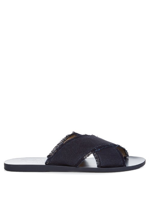 Thais Leather And Denim Sandals - predominant colour: navy; occasions: casual, holiday; material: fabric; heel height: flat; heel: standard; toe: open toe/peeptoe; style: slides; finish: plain; pattern: plain; season: s/s 2016; wardrobe: highlight