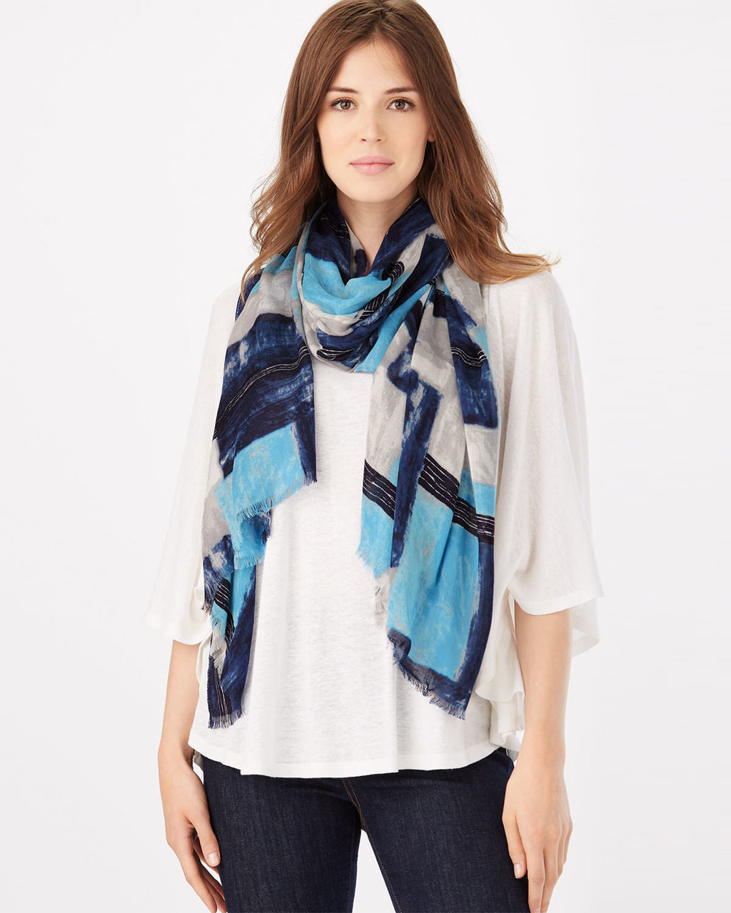 Bella Brushstroke Scarf - secondary colour: navy; predominant colour: turquoise; occasions: casual, creative work; type of pattern: light; style: regular; size: standard; material: fabric; pattern: florals; season: s/s 2016; wardrobe: highlight