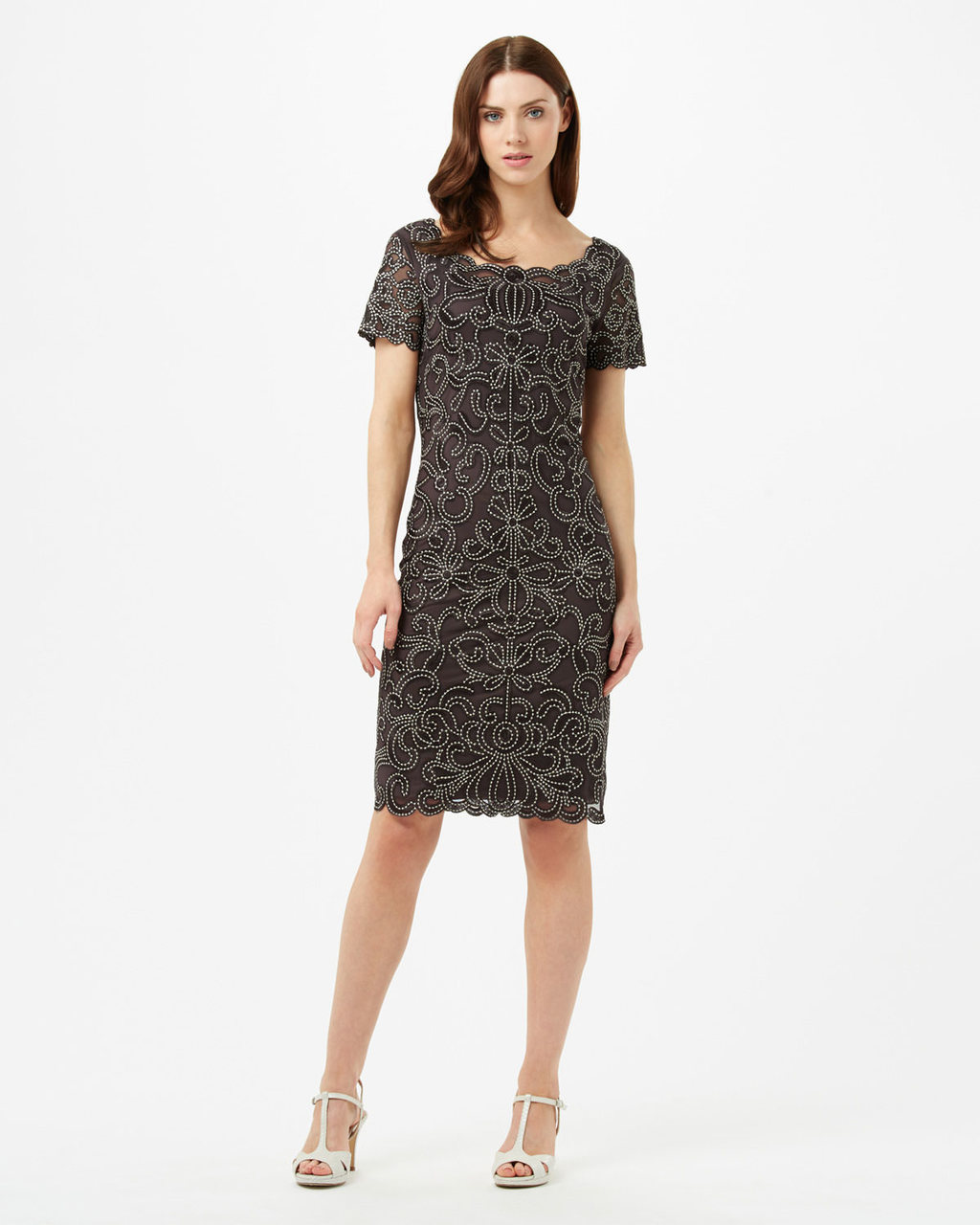 Taya Dress - style: shift; neckline: round neck; fit: tailored/fitted; predominant colour: black; occasions: evening; length: on the knee; sleeve length: short sleeve; sleeve style: standard; pattern type: fabric; pattern: patterned/print; texture group: other - light to midweight; fibres: viscose/rayon - mix; season: s/s 2016; wardrobe: event