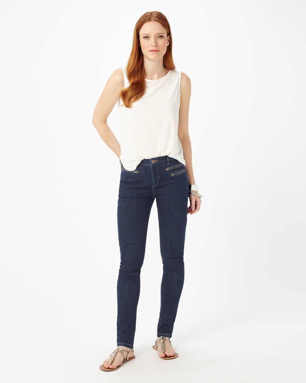 Victoria Triple Zip Jean - style: skinny leg; length: standard; pattern: plain; pocket detail: traditional 5 pocket; waist: mid/regular rise; predominant colour: navy; occasions: casual, evening; fibres: cotton - stretch; jeans detail: dark wash; texture group: denim; pattern type: fabric; season: s/s 2016; wardrobe: basic