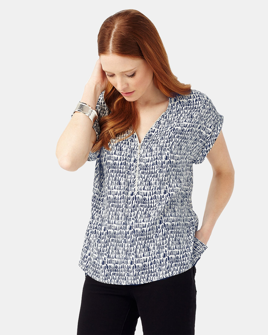 Denver Print Remi Blouse - neckline: v-neck; style: blouse; secondary colour: white; predominant colour: denim; occasions: casual; length: standard; fibres: viscose/rayon - 100%; fit: body skimming; sleeve length: short sleeve; sleeve style: standard; pattern type: fabric; pattern: patterned/print; texture group: other - light to midweight; multicoloured: multicoloured; season: s/s 2016