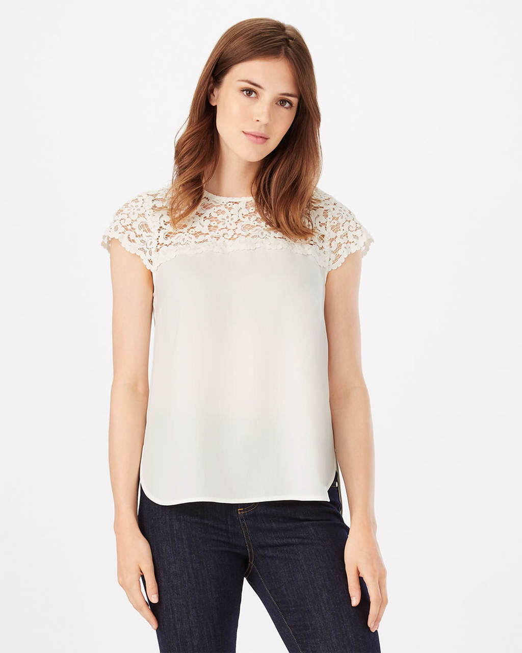Lowri Lace Blouse - sleeve style: capped; pattern: plain; bust detail: sheer at bust; style: blouse; predominant colour: ivory/cream; occasions: casual; length: standard; fibres: polyester/polyamide - 100%; fit: body skimming; neckline: crew; sleeve length: short sleeve; pattern type: fabric; texture group: other - light to midweight; embellishment: lace; season: s/s 2016