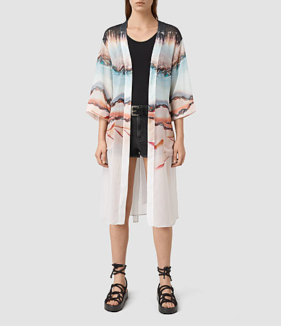 Crystal Kimono - neckline: collarless open; style: open front; length: on the knee; predominant colour: blush; occasions: casual, holiday; fibres: polyester/polyamide - 100%; fit: loose; sleeve length: 3/4 length; sleeve style: standard; texture group: sheer fabrics/chiffon/organza etc.; pattern type: fabric; pattern: florals; multicoloured: multicoloured; season: s/s 2016; wardrobe: highlight