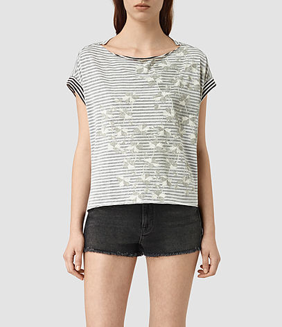 Farrow Pina Tee - pattern: horizontal stripes; style: t-shirt; secondary colour: white; predominant colour: mid grey; occasions: casual; length: standard; fibres: cotton - mix; fit: body skimming; neckline: crew; sleeve length: short sleeve; sleeve style: standard; pattern type: fabric; texture group: jersey - stretchy/drapey; multicoloured: multicoloured; season: s/s 2016; wardrobe: basic