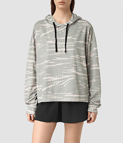 Lo Tye Hoody - neckline: high neck; length: below the bottom; back detail: hood; style: standard, hoody; predominant colour: light grey; occasions: casual, activity; fibres: cotton - 100%; fit: loose; sleeve length: long sleeve; sleeve style: standard; pattern type: fabric; pattern: patterned/print; texture group: other - light to midweight; season: s/s 2016