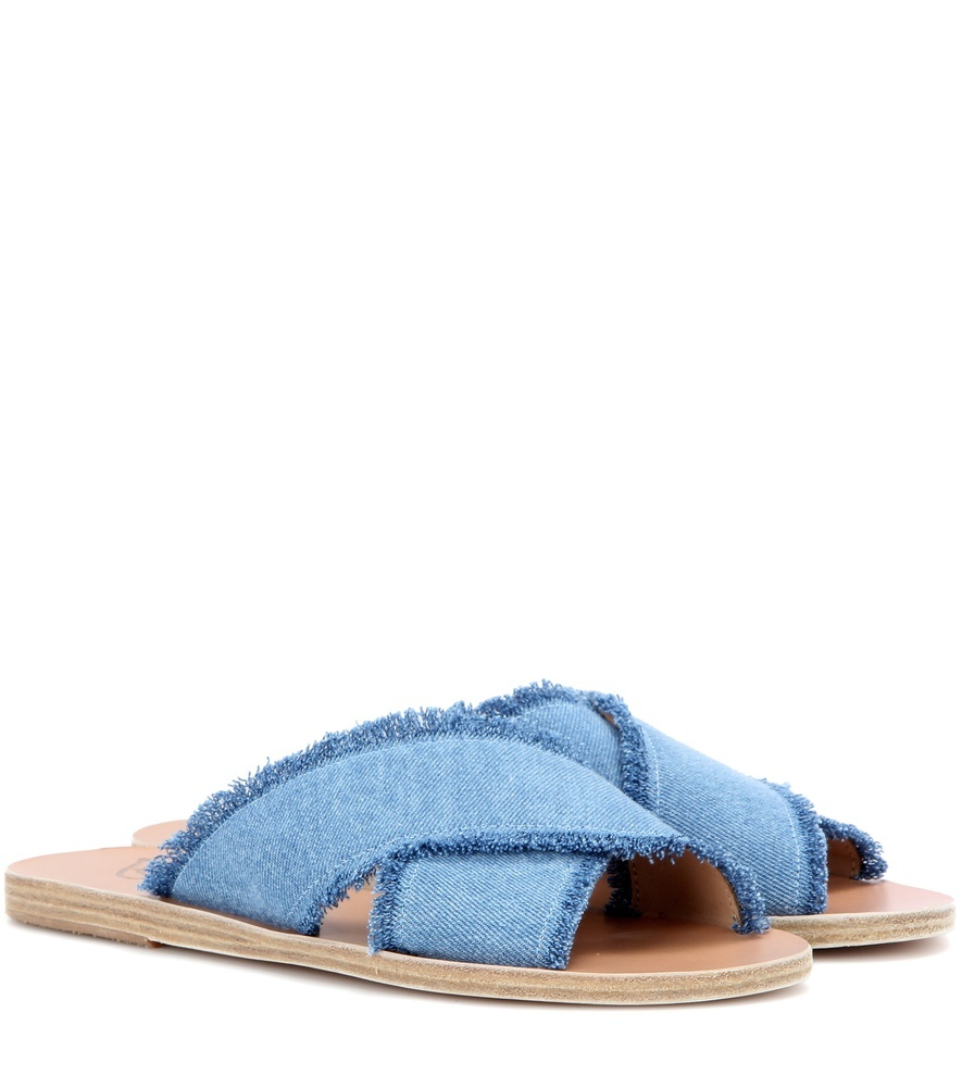 Thais Denim And Leather Sandals - predominant colour: pale blue; occasions: casual, holiday; material: leather; heel height: flat; heel: block; toe: open toe/peeptoe; style: slides; finish: plain; pattern: plain; season: s/s 2016; wardrobe: highlight