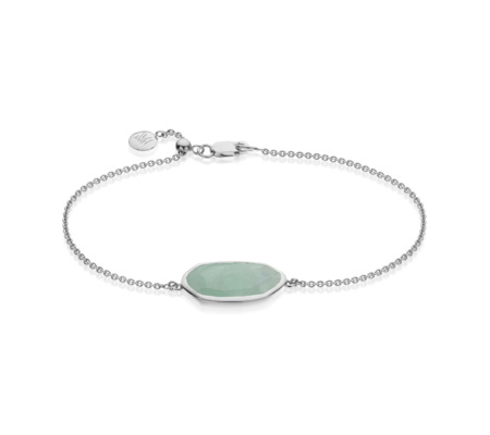 Capri Chain Bracelet Aquamarine - predominant colour: pistachio; secondary colour: silver; occasions: casual, creative work; style: bangle/standard; size: standard; material: chain/metal; finish: plain; embellishment: beading; season: s/s 2016