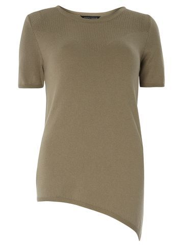Womens Khaki Asymmetric Pointelle Tee Khaki - pattern: plain; predominant colour: khaki; occasions: casual; length: standard; style: top; fibres: cotton - mix; fit: body skimming; neckline: crew; sleeve length: short sleeve; sleeve style: standard; texture group: jersey - clingy; pattern type: fabric; season: s/s 2016; wardrobe: basic