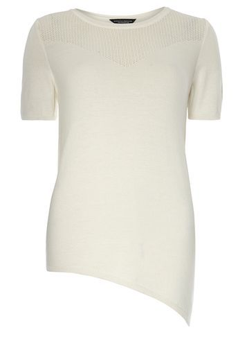 Womens Stone Asymmetric Pointelle Tee White - pattern: plain; style: t-shirt; predominant colour: ivory/cream; occasions: casual, creative work; length: standard; fibres: cotton - mix; fit: body skimming; neckline: crew; sleeve length: short sleeve; sleeve style: standard; texture group: knits/crochet; pattern type: knitted - fine stitch; season: s/s 2016; wardrobe: basic