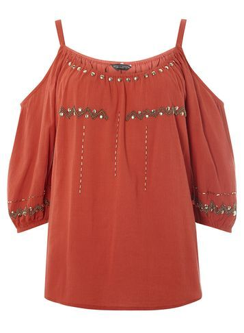 Womens Embellished Cold Shoulder Top Red - sleeve style: open slash; pattern: plain; predominant colour: terracotta; secondary colour: gold; occasions: casual; length: standard; style: top; neckline: scoop; fibres: cotton - 100%; fit: loose; sleeve length: 3/4 length; texture group: cotton feel fabrics; pattern type: fabric; embellishment: beading; season: s/s 2016