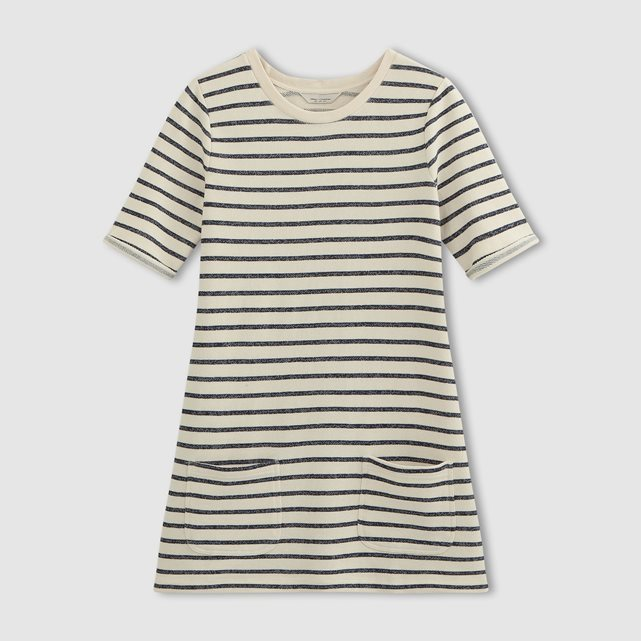 Breton Stripe Dress - style: t-shirt; length: mid thigh; pattern: horizontal stripes; predominant colour: ivory/cream; secondary colour: black; occasions: casual; fit: body skimming; fibres: cotton - 100%; neckline: crew; sleeve length: short sleeve; sleeve style: standard; pattern type: fabric; texture group: jersey - stretchy/drapey; multicoloured: multicoloured; season: s/s 2016; wardrobe: basic