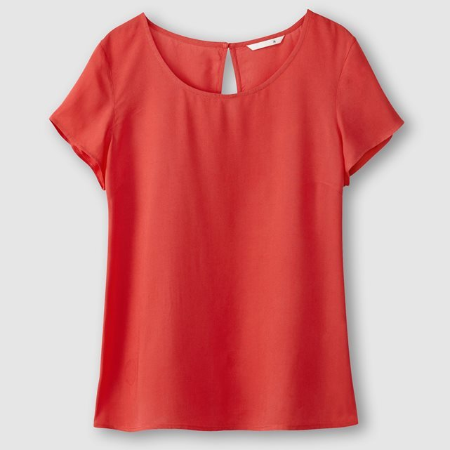 Short Sleeved Blouse - neckline: round neck; pattern: plain; style: blouse; predominant colour: true red; occasions: casual; length: standard; fibres: viscose/rayon - 100%; fit: body skimming; sleeve length: short sleeve; sleeve style: standard; texture group: silky - light; pattern type: fabric; season: s/s 2016; wardrobe: highlight