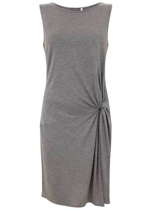 Grey Marl Twist Detail Jersey Tunic - neckline: round neck; pattern: plain; sleeve style: sleeveless; style: tunic; predominant colour: light grey; occasions: casual; fibres: viscose/rayon - 100%; fit: body skimming; length: mid thigh; sleeve length: sleeveless; pattern type: fabric; texture group: jersey - stretchy/drapey; season: s/s 2016; wardrobe: basic
