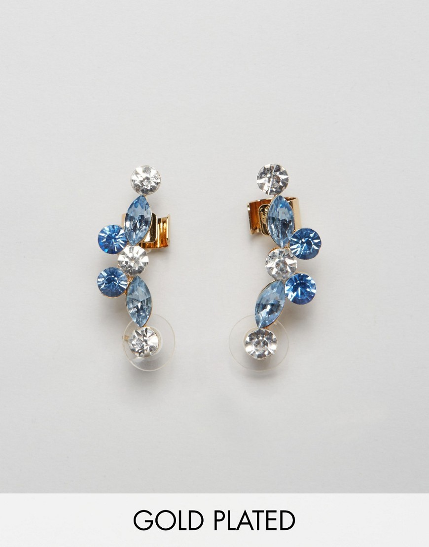 Bria Blue Ear Cuffs Blue - predominant colour: pale blue; occasions: evening, occasion; style: stud; length: mid; size: standard; material: chain/metal; fastening: pierced; finish: plain; embellishment: jewels/stone; season: s/s 2016; wardrobe: event