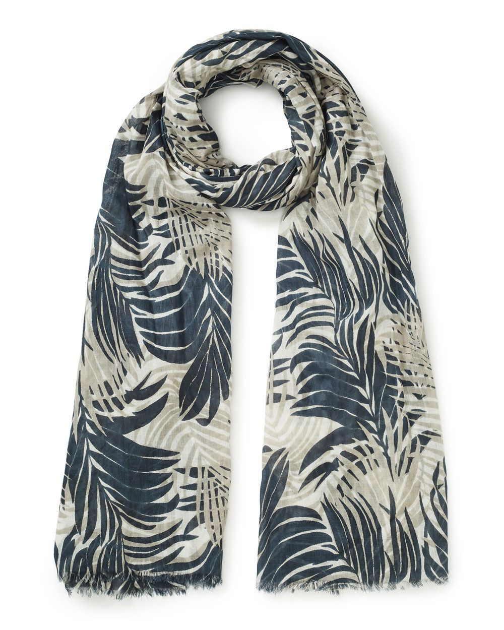 Palm Leaf Print Scarf, Black - predominant colour: black; occasions: casual; type of pattern: heavy; style: regular; size: standard; material: fabric; pattern: florals; season: s/s 2016; wardrobe: highlight