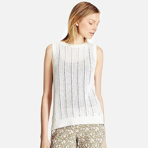 Women 100% Cotton Middle Gauge Mesh Vest (Size Xl) Off White - pattern: plain; sleeve style: sleeveless; style: vest top; predominant colour: white; occasions: casual, creative work; length: standard; fibres: cotton - 100%; fit: body skimming; neckline: crew; sleeve length: sleeveless; texture group: cotton feel fabrics; pattern type: fabric; season: s/s 2016; wardrobe: basic