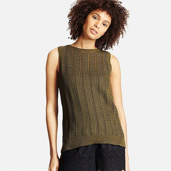 Women 100% Cotton Middle Gauge Mesh Vest (Size Xl) Olive - pattern: plain; sleeve style: sleeveless; predominant colour: khaki; occasions: casual; length: standard; style: top; fibres: cotton - 100%; fit: body skimming; neckline: crew; hip detail: subtle/flattering hip detail; sleeve length: sleeveless; pattern type: fabric; texture group: jersey - stretchy/drapey; season: s/s 2016; wardrobe: basic