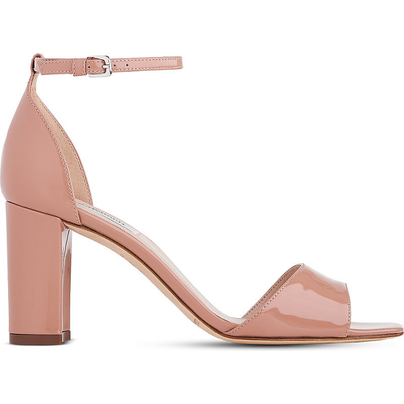 Helena Patent Leather Block Heel Sandals, Women's, Eur 38 / 5 Uk Women, Nat Fawn - predominant colour: nude; occasions: casual, holiday, creative work; material: leather; heel height: high; ankle detail: ankle strap; heel: block; toe: open toe/peeptoe; style: standard; finish: patent; pattern: plain; season: s/s 2016; wardrobe: investment