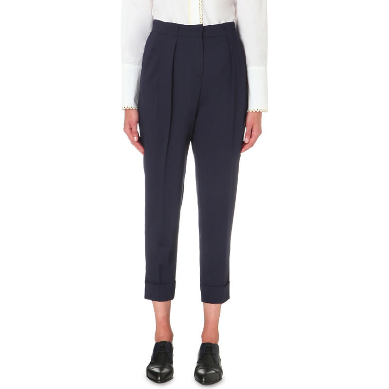 Tapered High Rise Stretch Wool Trousers, Women's, Light Sky Blue/White - pattern: plain; style: peg leg; waist: high rise; predominant colour: navy; occasions: work, creative work; length: ankle length; fibres: wool - stretch; hip detail: front pleats at hip level; fit: tapered; pattern type: fabric; texture group: other - light to midweight; season: s/s 2016