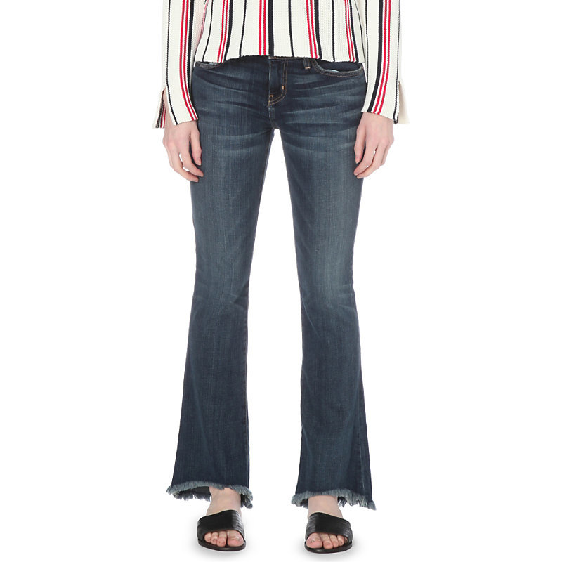 Flip Flop Bootcut Mid Rise Jeans, Women's, Loved - style: flares; length: standard; pattern: plain; pocket detail: traditional 5 pocket; waist: mid/regular rise; predominant colour: navy; occasions: casual; fibres: cotton - stretch; jeans detail: whiskering, shading down centre of thigh, dark wash; texture group: denim; pattern type: fabric; season: s/s 2016; wardrobe: basic