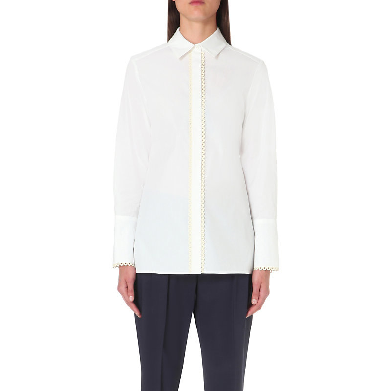 Embroidered Cotton Shirt, Women's, White - neckline: shirt collar/peter pan/zip with opening; pattern: plain; style: shirt; predominant colour: white; occasions: work; length: standard; fibres: cotton - 100%; fit: body skimming; sleeve length: long sleeve; sleeve style: standard; texture group: cotton feel fabrics; pattern type: fabric; embellishment: embroidered; season: s/s 2016; wardrobe: highlight