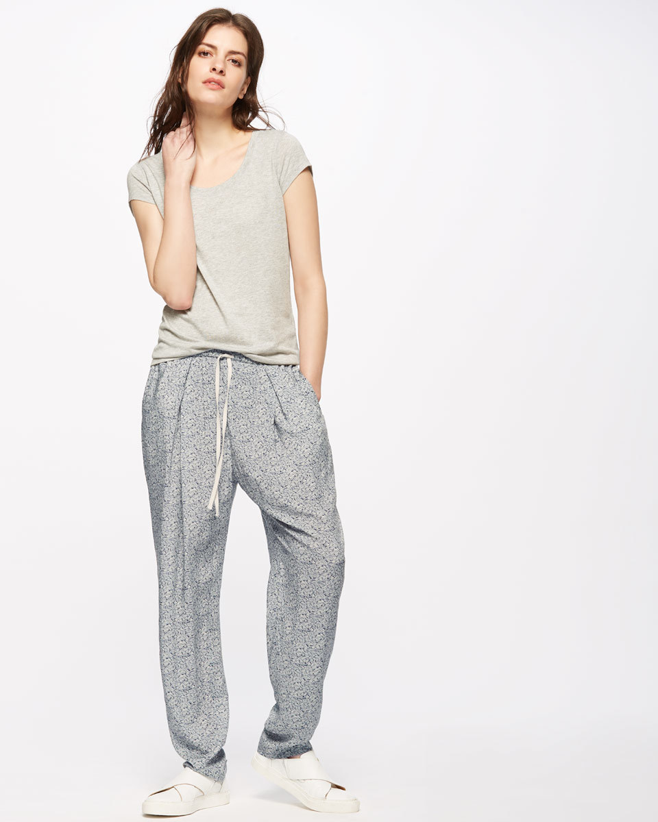 Linear Leaf Trouser - length: standard; pattern: plain; style: harem/slouch; waist detail: belted waist/tie at waist/drawstring; waist: mid/regular rise; predominant colour: mid grey; occasions: casual, creative work; fibres: viscose/rayon - 100%; fit: baggy; pattern type: fabric; texture group: other - light to midweight; season: s/s 2016; wardrobe: highlight