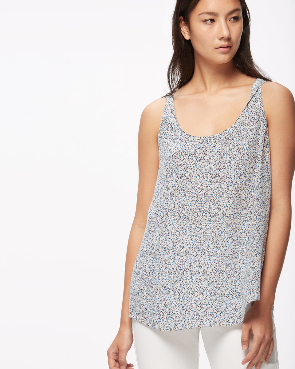Confetti Twist Silk Tank - sleeve style: sleeveless; length: below the bottom; style: vest top; predominant colour: navy; secondary colour: light grey; occasions: casual, creative work; neckline: scoop; fibres: silk - 100%; fit: body skimming; sleeve length: sleeveless; texture group: silky - light; pattern type: fabric; pattern size: standard; pattern: patterned/print; season: s/s 2016; wardrobe: highlight